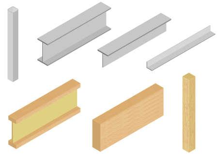 Vector van hout en staal elementen