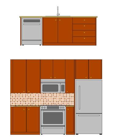 Vector of kitchen appliances  Kitchen interior