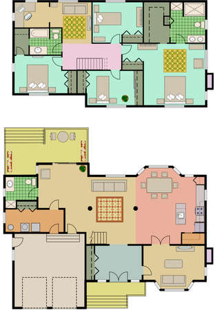 Vector tekening van huis met 4 slaapkamers Stock Illustratie