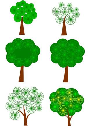 Vector van decoratieve bomen Stock Illustratie