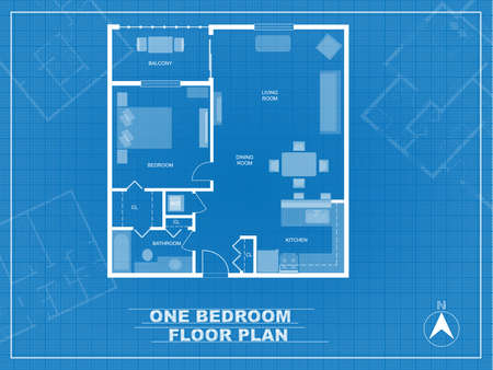 Vector. Blueprint of one bedroom condo. Detailed floor plan with furniture.