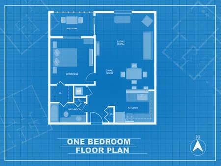 Vecteur. Plan d'un condo d'une chambre. Plan d'étage détaillé avec des meubles.