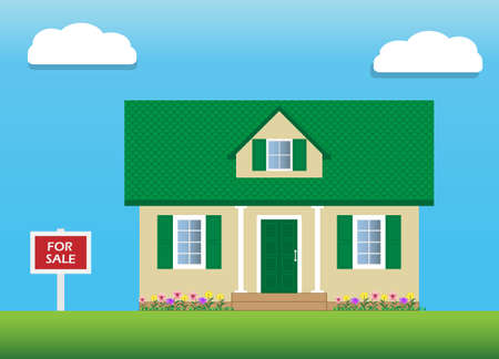 Vector of house with green gable roof for sale. An attic with a dormer window. For sale sign. Real estate.