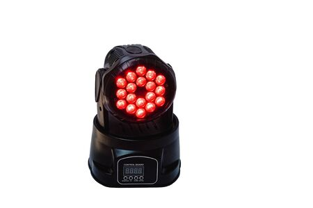 turned: Moving head led light with digital controls isolated on white turned on. Stock Photo