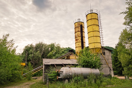 conveyors: Old small concrete plant abandoned by humans and reclaimed by nature.