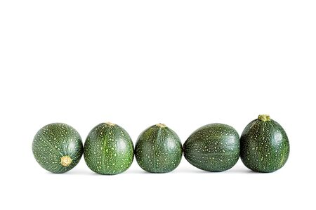 eight: Five eight ball squashes isolated on white.