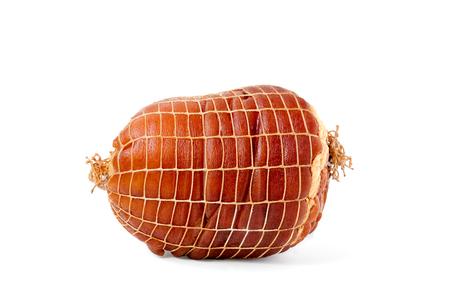 hock: Smoked boneless pork ham hock wrapped in netting isolated on white