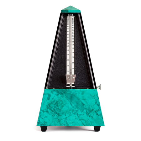 Stopped pyramid shaped metronome in plastic housing in sapphire green with marble effect isolated on white Reklamní fotografie - 70264285