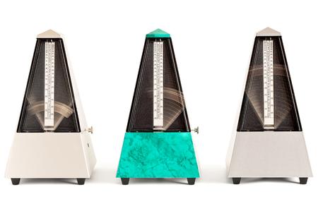 Three swinging pyramid shaped metronomes in plastic housing isolated on white Stock Photo