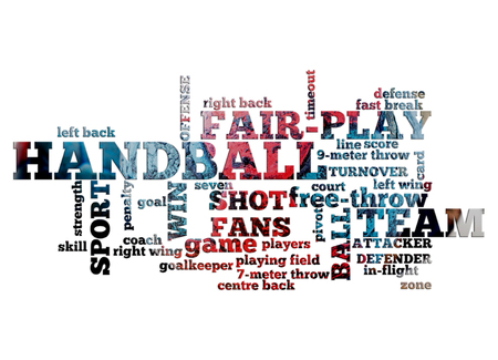 Handball related word cloud on white background with handball photo in the background Reklamní fotografie