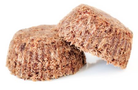 Homemade plain with salt beef meat and liver pemmican isolated on white, front view Banco de Imagens