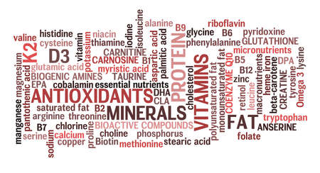 Horizontal red meat complete nutrition information word cloud in meat color scheme.