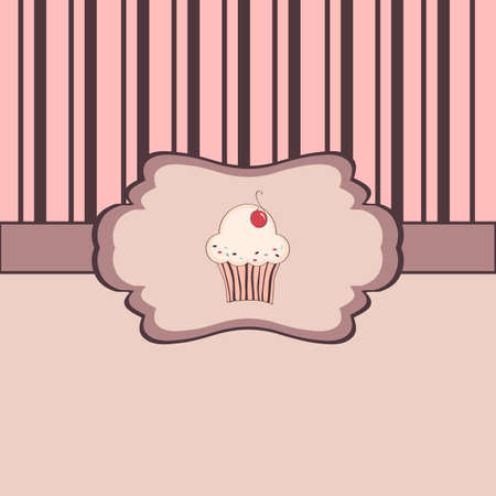 Background with cupcake and frame Stock Vector - 17123146