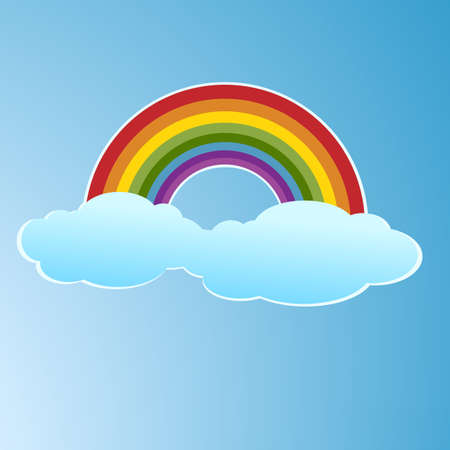 Vector symbol of rainbow and clouds in the sky Stock Vector - 17123138