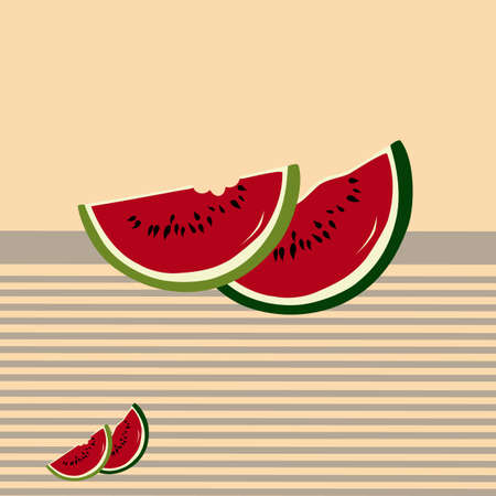 Watermelon slices on scratches background. Seamless pattern Vector