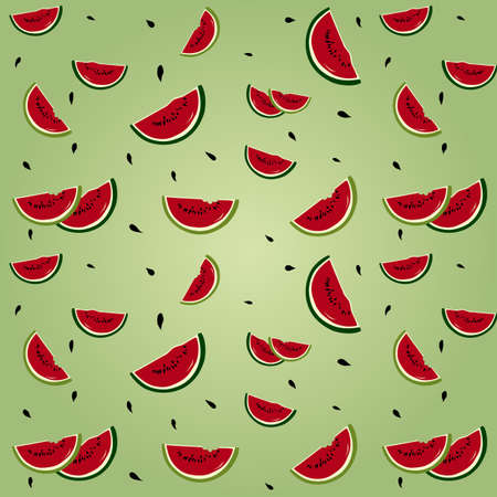 Seamless background with watermelon segments Stock Vector - 17123149