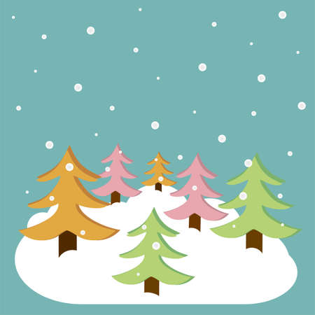 Vector christmas background with christmas trees on it Stock Vector - 17123140