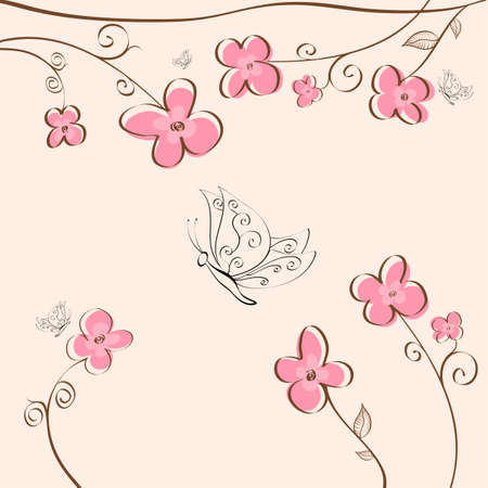 Cute floral background with butterflies Stock Vector - 17123153