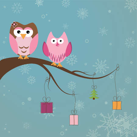 Christmas card with two cute owls on the tree branch Stock Vector - 17123154
