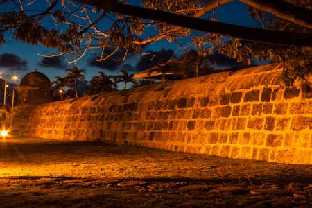 bulwark: Cartagenas wall at dusk