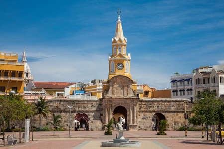 cartagena: Public Clock Tower in Cartagena de Indias Stock Photo