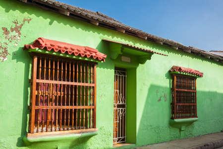 Facade of a house in Cartagena de Indias