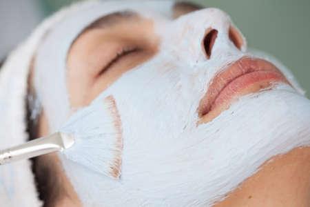 facial: Facial mask application Stock Photo