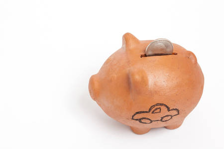 high angle: Saving dollars for a car - high angle