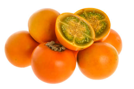 Exotic tropical fruit called lulo (Solanum quitoense) Stock Photo