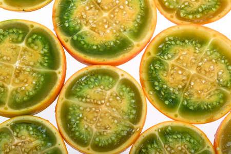 Exotic tropical fruit called lulo (Solanum quitoense) Standard-Bild