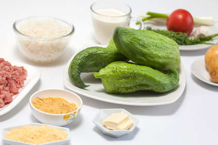 stuffing: Ingredients to cook stuffing cucumber Stock Photo