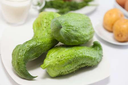 cucurbit: Stuffing cucumber (Cyclanthera pedata) Stock Photo