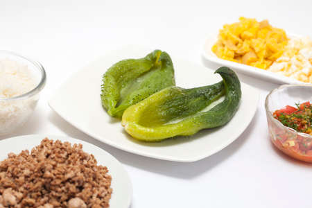 stuffing: Preparation of  Stuffing Cucumbers Filling Mix Stock Photo