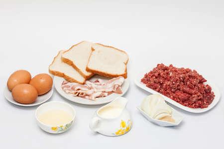 meatloaf: Ingredients to Prepare an Egg and Vegetables Stuffed Meatloaf