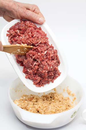 meatloaf: Preparing the mix for the stuffed meatloaf