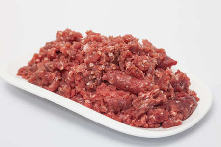 ground beef: Ground beef on white background Stock Photo