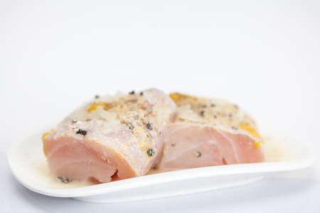 lite food: Marinated raw sea bass fillet Stock Photo