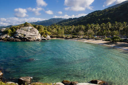 Sea, beach and forest at the National Natural Park Tayrona in Colombia