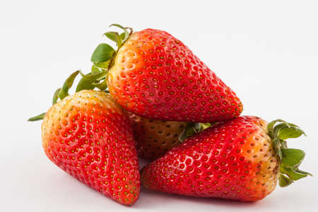 Strawberry (Fragaria ananassa) on white background