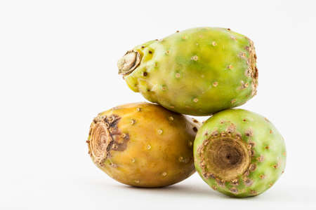 Tuna (Opuntia ficus-indica) isolated in white background Stock Photo