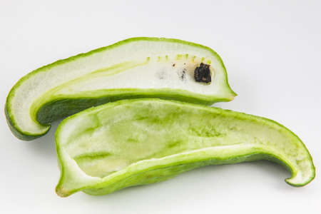 stuffing: Stuffing cucumber (Cyclanthera pedata) isolated in white background