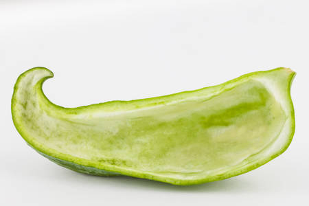 emptied: Stuffing cucumber (Cyclanthera pedata) isolated in white background