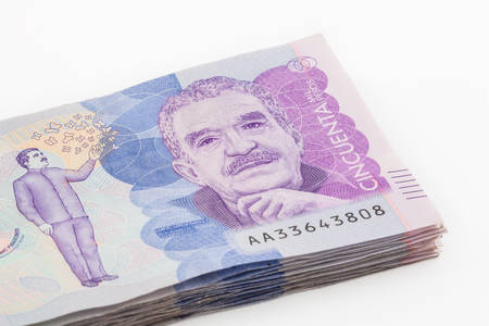 Wad of Fifty Thousand Colombian Pesos Stock Photo