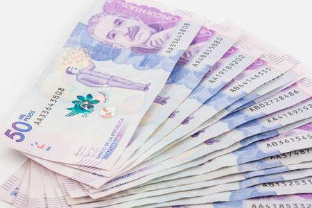 Wad of Fifty Thousand Colombian Pesos Standard-Bild