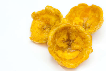 Ready plantain cups, made of crushed fried green plantains, on white background