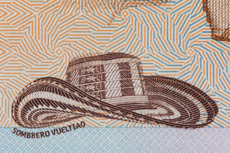 Traditional hat from Colombia Sombrero vueltiao on the twenty thousand Colombian pesos bill