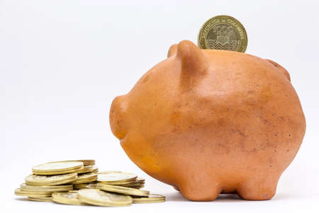 Saving money into a traditional clay piggy bank