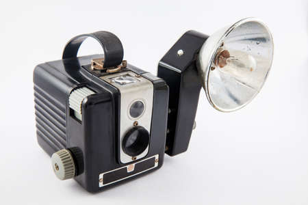 Antique camera isolated on white background Stock Photo