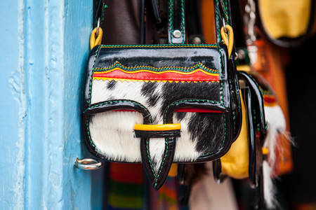 Colombian traditional leather satchel from the Antioquia Region called Carriel Reklamní fotografie - 91218986