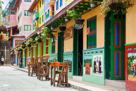 GUATAPE, ANTIOQUIA - COLOMBIA, NOVEMBER 2017. Colorful streets of Guatape city in Colombia